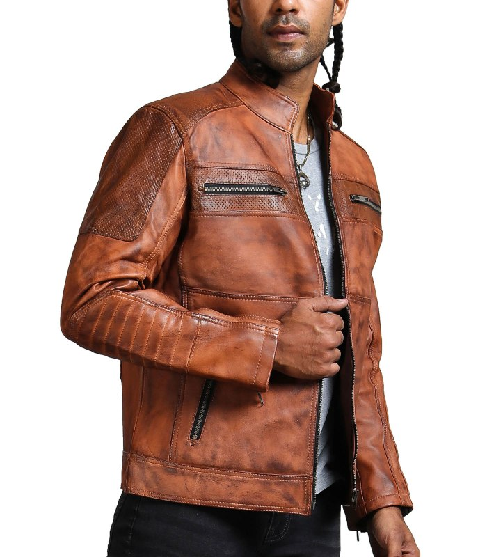 Designer Cafe Racer Vintage Brown Leather Jacket Sale USA