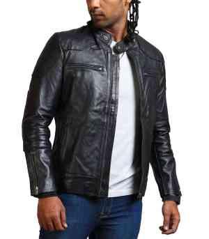 David Beckham Black Biker Leather Jacket