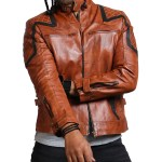 Designer Men Brown Waxed Leather Jacket Sale