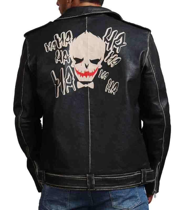 Joker Black Brando Distressed Leather Jacket