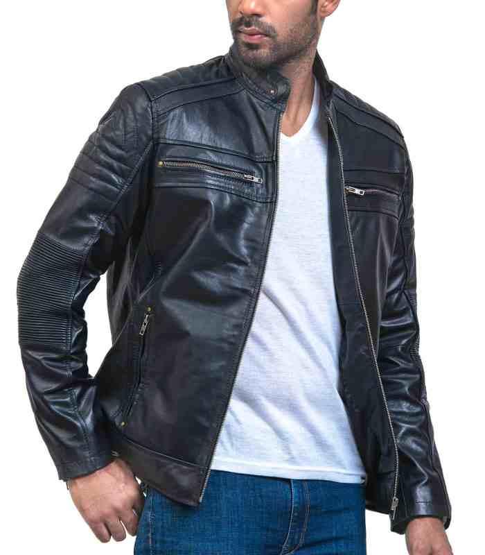 Cafe Racer Men Black Leather Jacket Sale USA