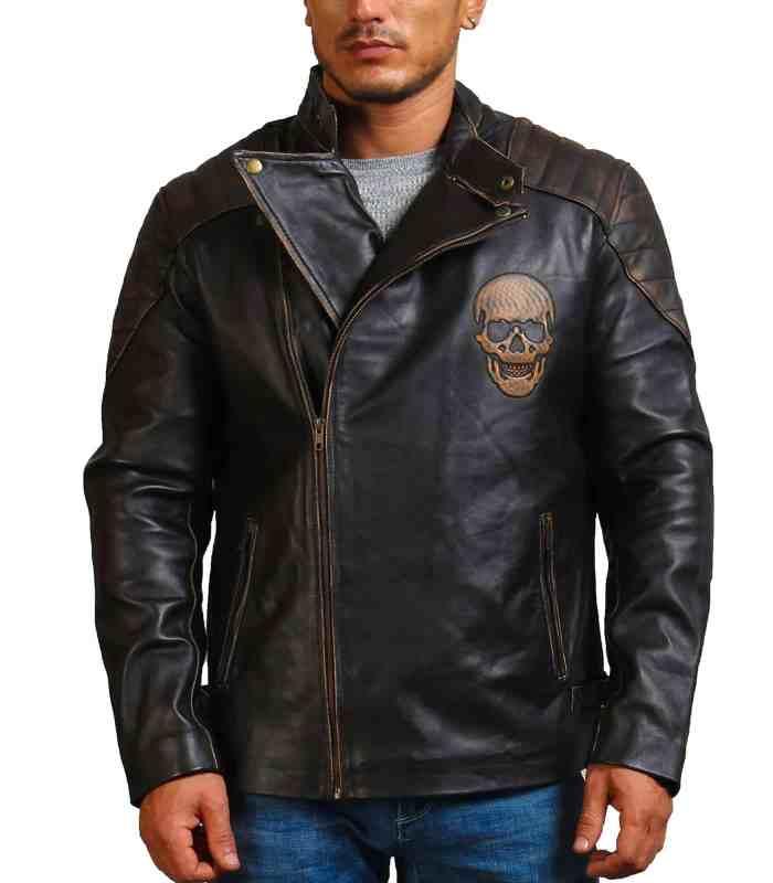 Ride Skull Motorcycle Cowhide Leather Jacket
