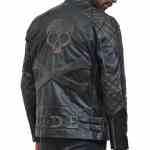 Skull Leather Distressed Cowhide Motorcycle Jacket