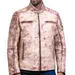 White Waxed Vintage Cafe Racer Leather Jacket Sale