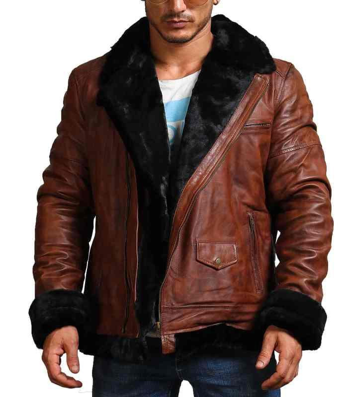 B3 Bomber Men Brown Vintage Fur Leather Jacket