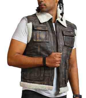 Men Brown Waxed Fur Leather Vest