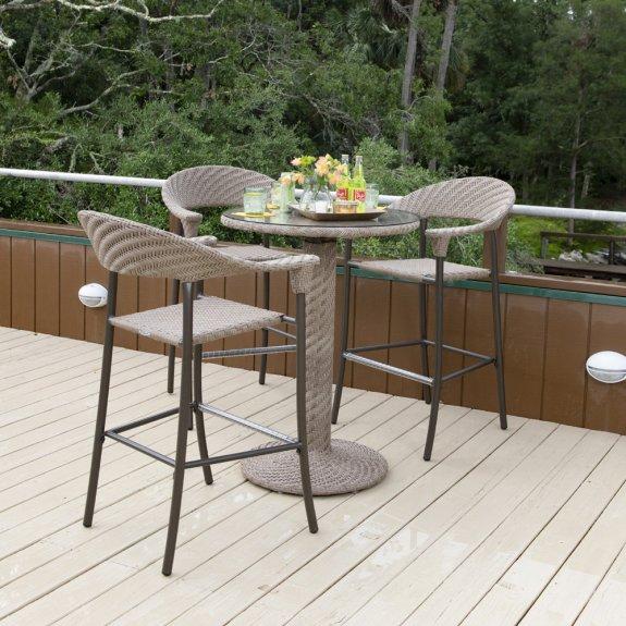 woodard barlow wicker patio bar set for 3