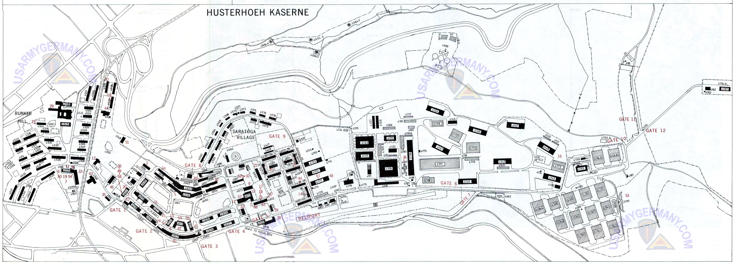 USAREUR Installation Maps Husterhoeh Late 1970s