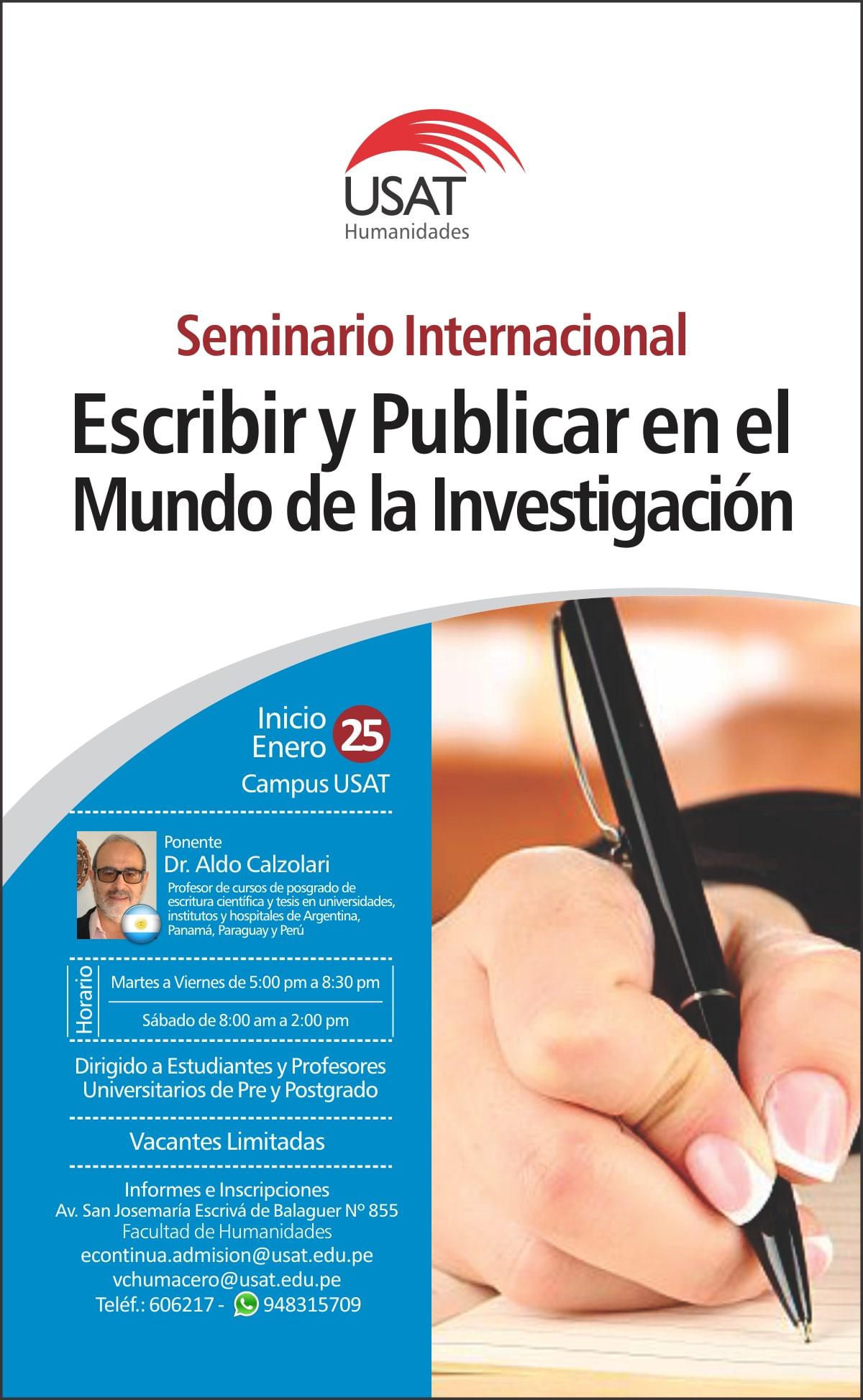 Seminario Internacional. Escribir y Publicar en el mundo de la Investigación