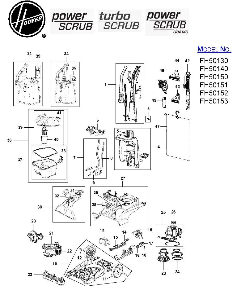 Hoover Fh50151 Power Scrub Deluxe Carpet Washer Parts List Schematic Usa Vacuum
