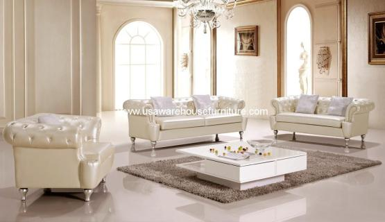 3 Piece Alexandrina Cream Leather Living Set