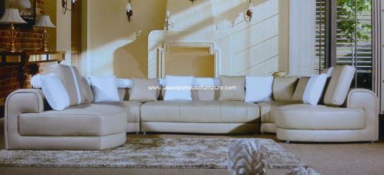Modern 5 Piece Tenore Genuine Tan Leather Sectional Sofa Set