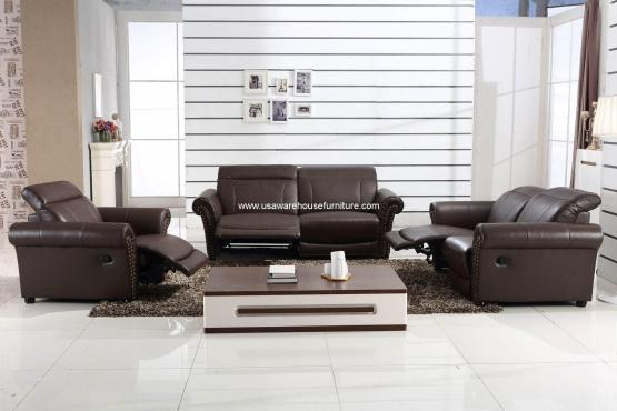 esf 15 set Classic Italian Leather Reclining Sofa Set