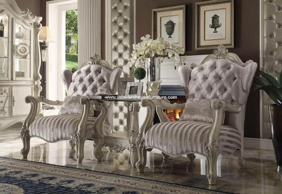 3 Piece Versailles Accent Chair Ivory Velvet
