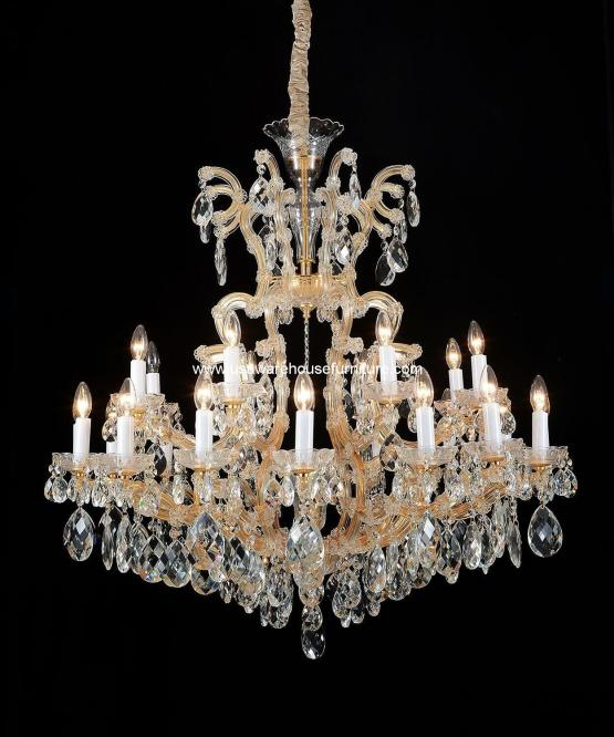 Michael Amini 19 Light La Scala Chandelier Cognac Glass