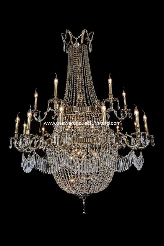 24 Light Summer Palace Chandelier Clear Glass & Antique Brass