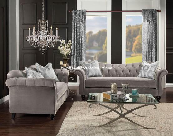 Furniture Of America Antoinette Dolphin Gray Living Set