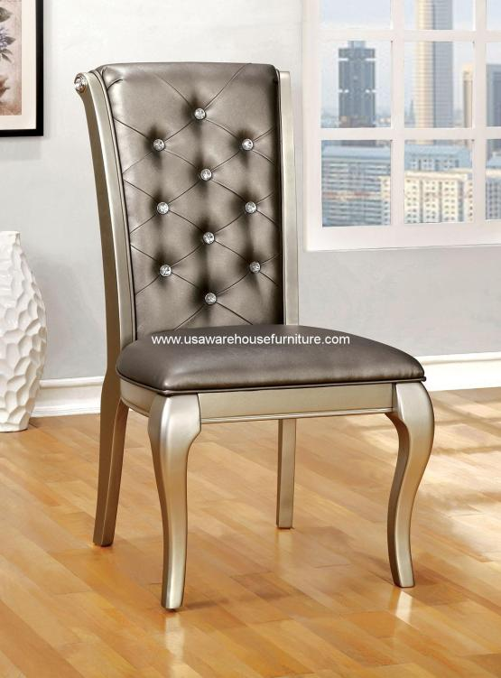 Amina Dining Side Chair Silver Finish