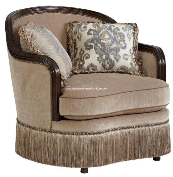 Giovanna Azure Curved Wood Trim Chair