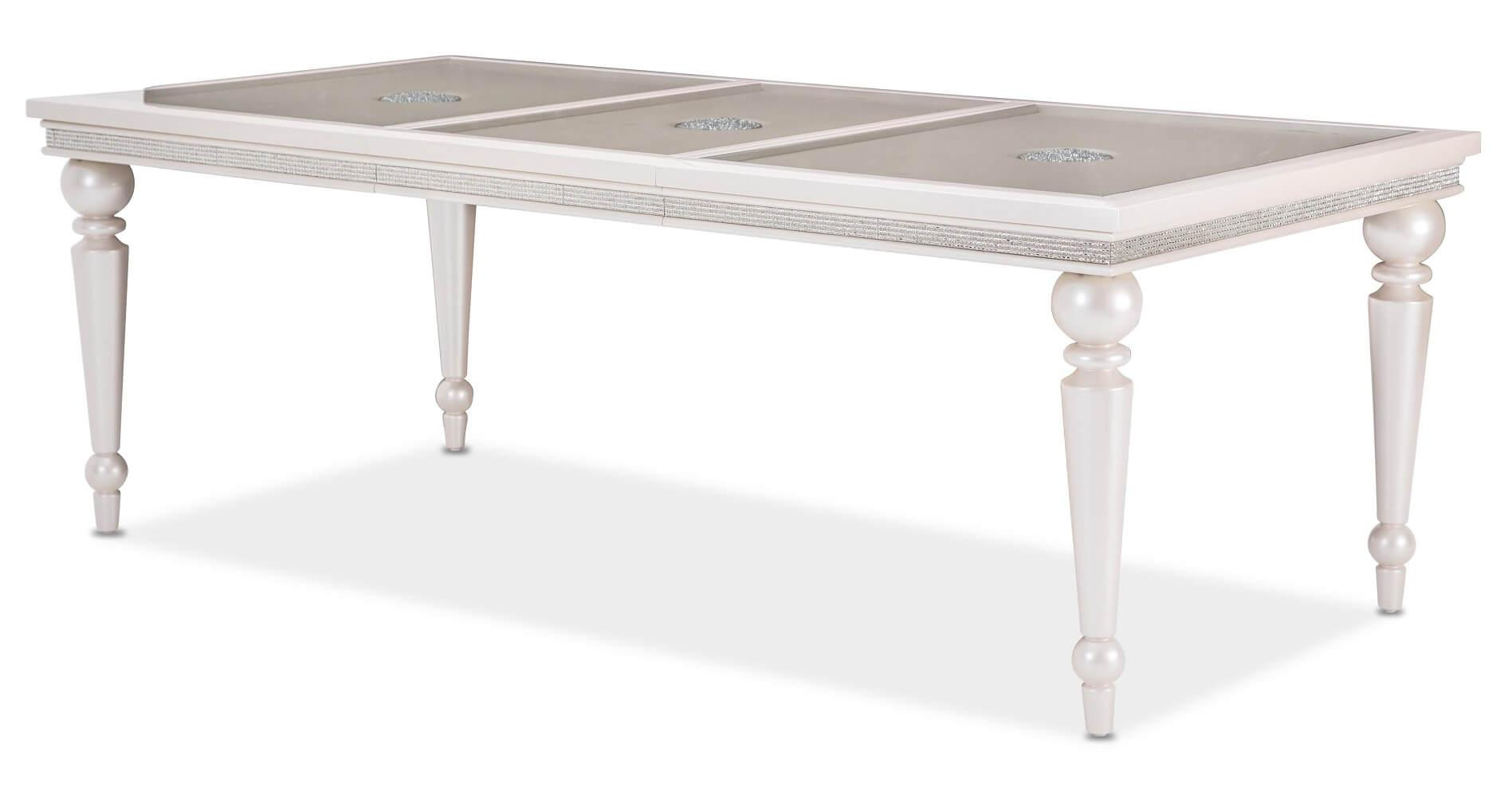 Fantastic Michael Amini Glimmering Heights 4 Leg Extendable Dining Beutiful Home Inspiration Aditmahrainfo