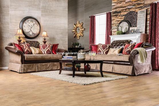 Kinsale Traditional Leather-Fabric Sofa Set