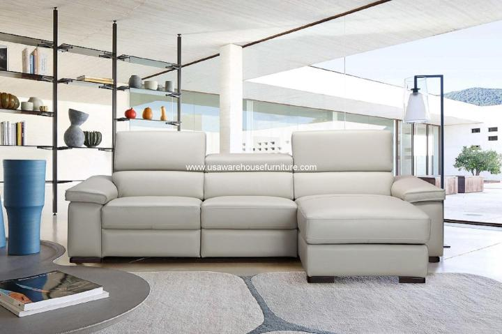Fabia Premium Silver Leather Sectional