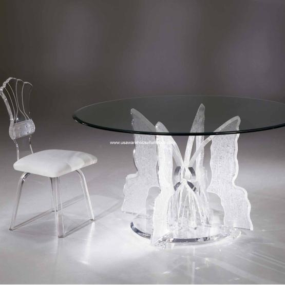 Acrylic Butterfly II Round Dinette Table