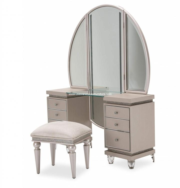 3 Piece Michael Amini Glimmering Heights Vanity With Bench