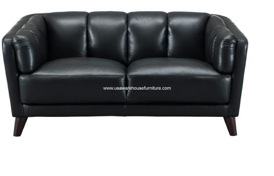 Frances Black Leather Loveseat
