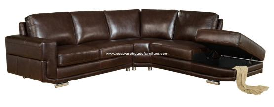 2 Piece Cecile Dark Brown Leather Sectional