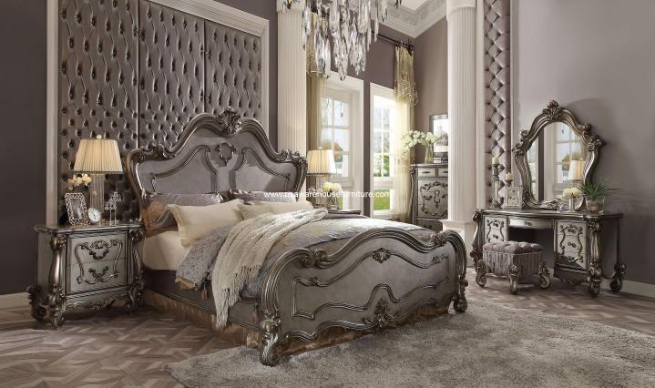 Versailles bedroom Set Antique Platinum Finish
