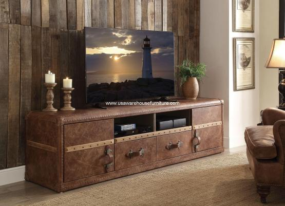 Aberdeen Vintage Leather TV Console