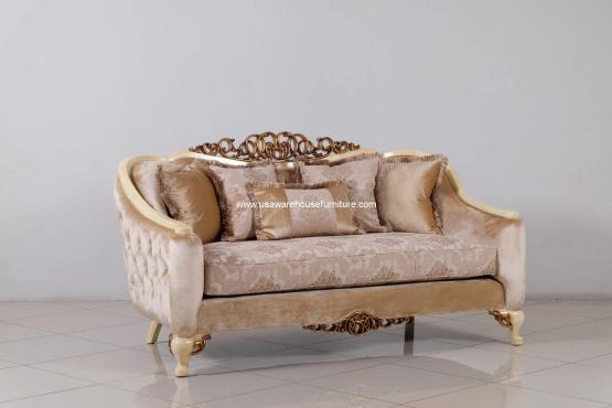 Angelica Wood Trim Loveseat