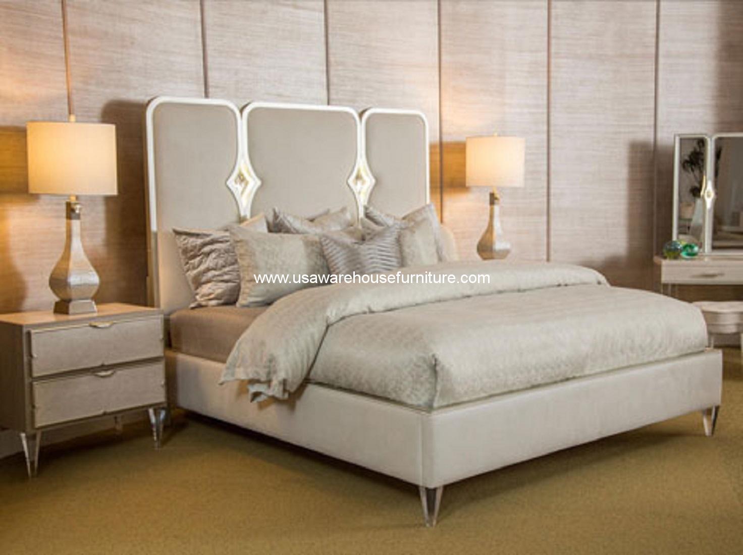4 Piece Micheal Amini Camden Court Crystal Panel Bedroom Set Usa Warehouse Furniture