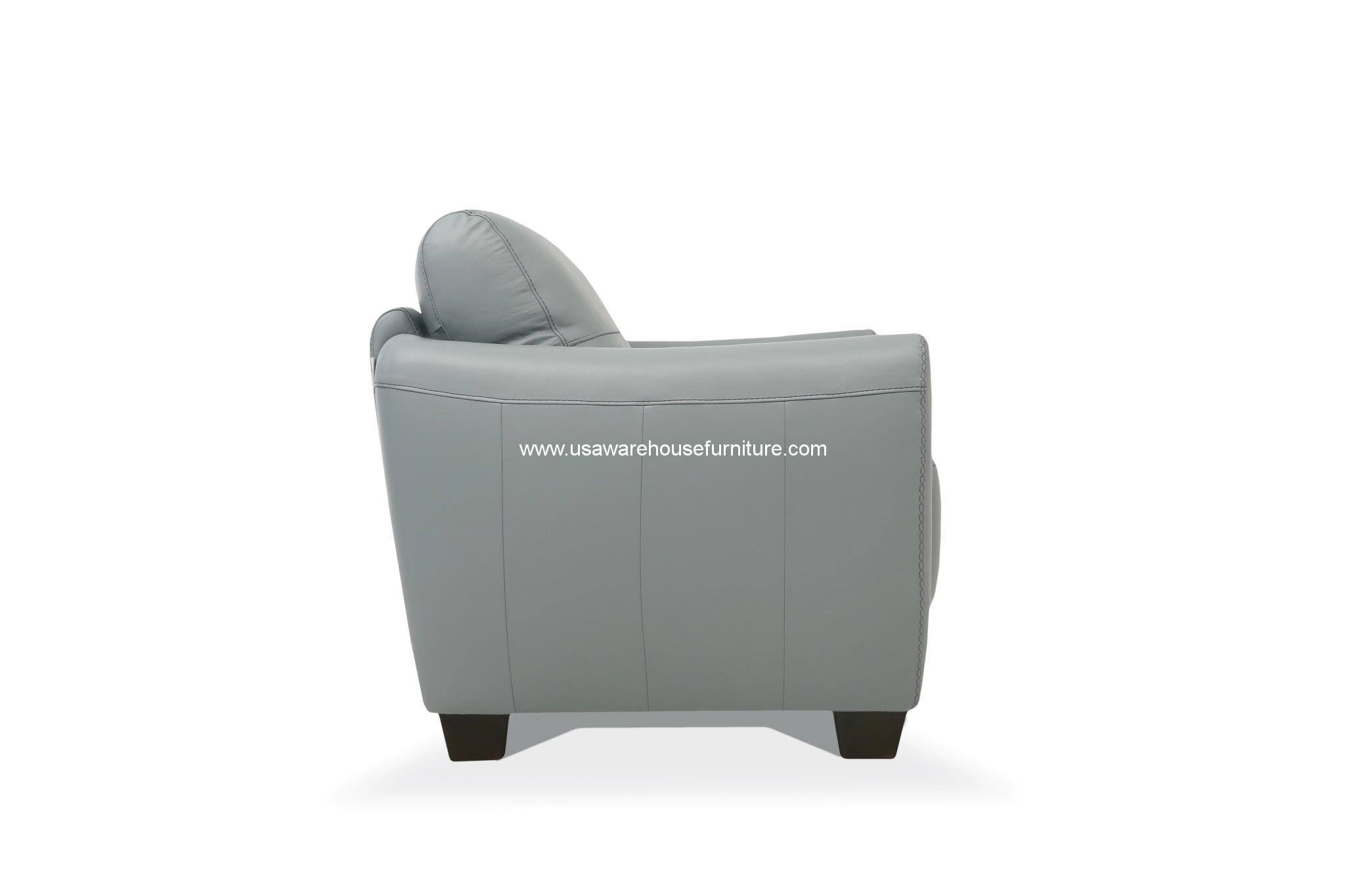 Vale Gray Leather Loveseat Made In Italy