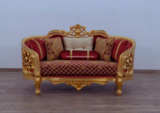 Bellagio II Gold Loveseat Red-Gold