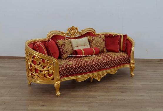Bellagio II Gold Sofa Red-Gold