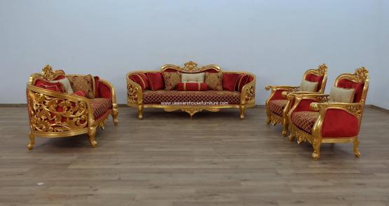 Bellagio II Gold Sofa Set Red-Gold