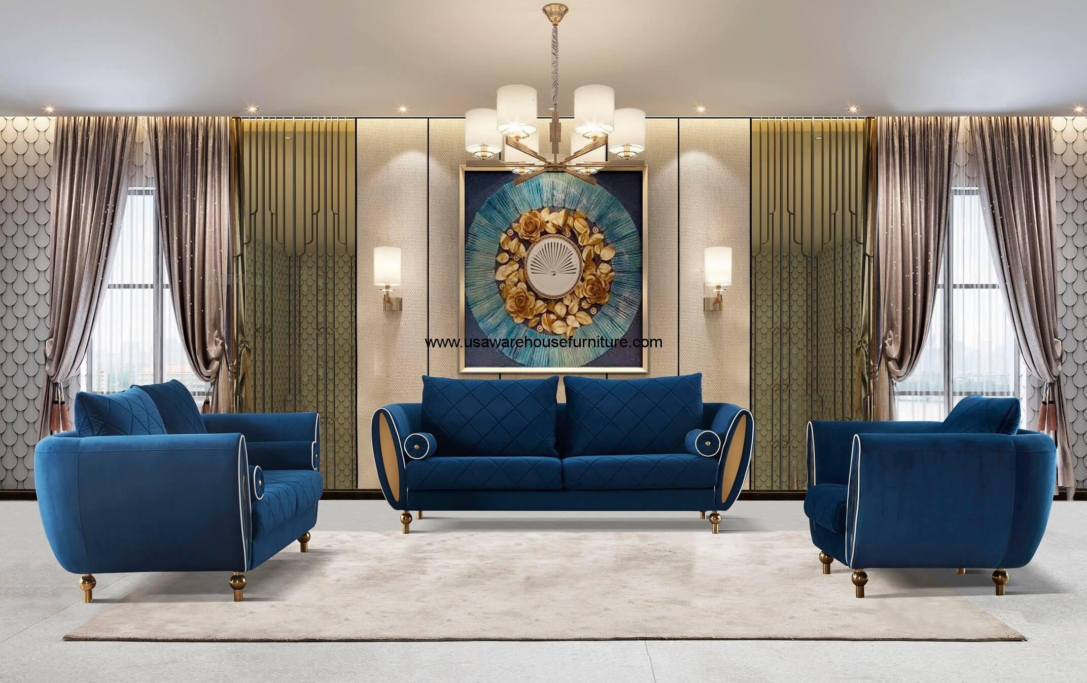 Sipario Vita Modern Blue Sofa Usa Warehouse Furniture