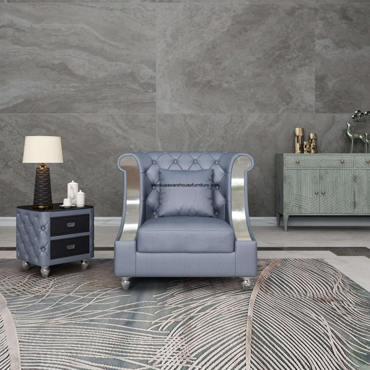 Mayfair Chair Gray Premium Leather