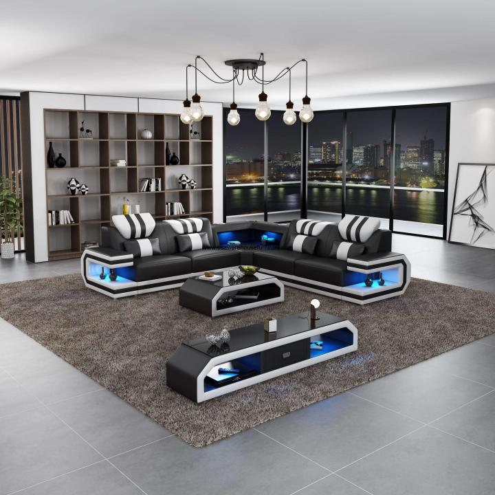 Lightsaber LED Modern Sectional Black Italian Leather