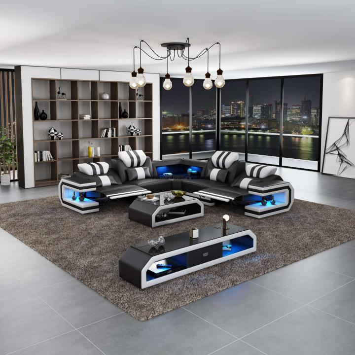 Lightsaber LED Modern Sectional Dual Recliner Black Italian Leather