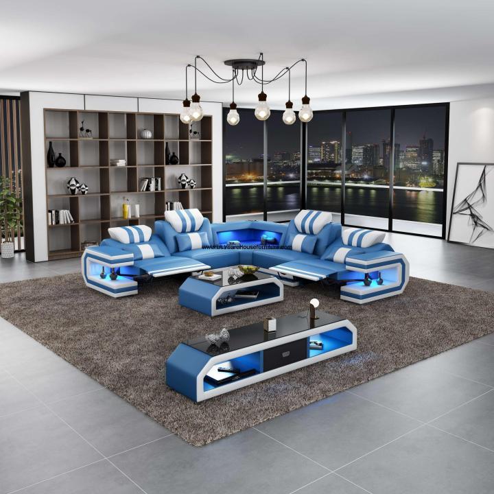 Lightsaber LED Modern Sectional Dual Recliner Blue Italian Leather