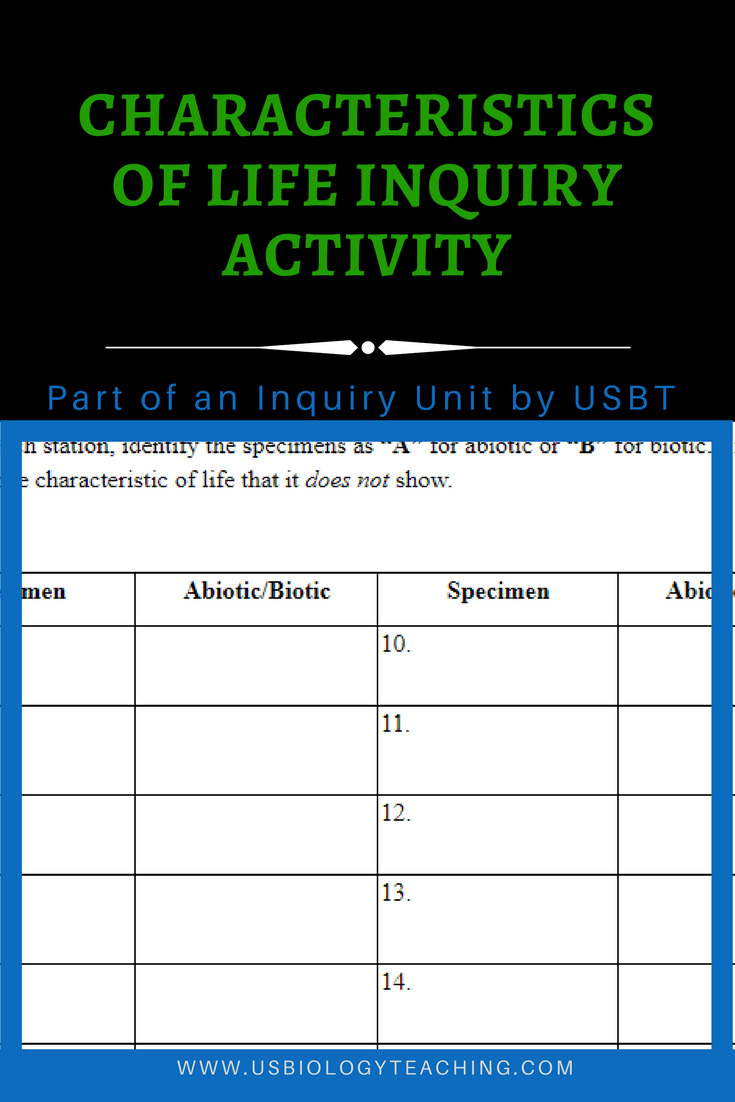 The Best Part? After the students complete the characteristics of life worksheet ...