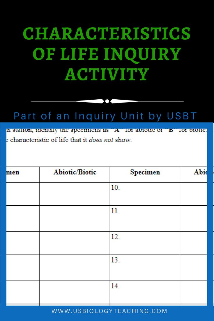 worksheet Biology Characteristics Of Life Worksheet characteristics of life worksheet usbiologyteaching com the best part after students complete worksheet
