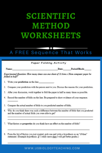 Paper Folding Scientific Method Worksheet