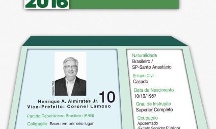 Conheça as propostas do candidato Henrique Almirates (PRB)
