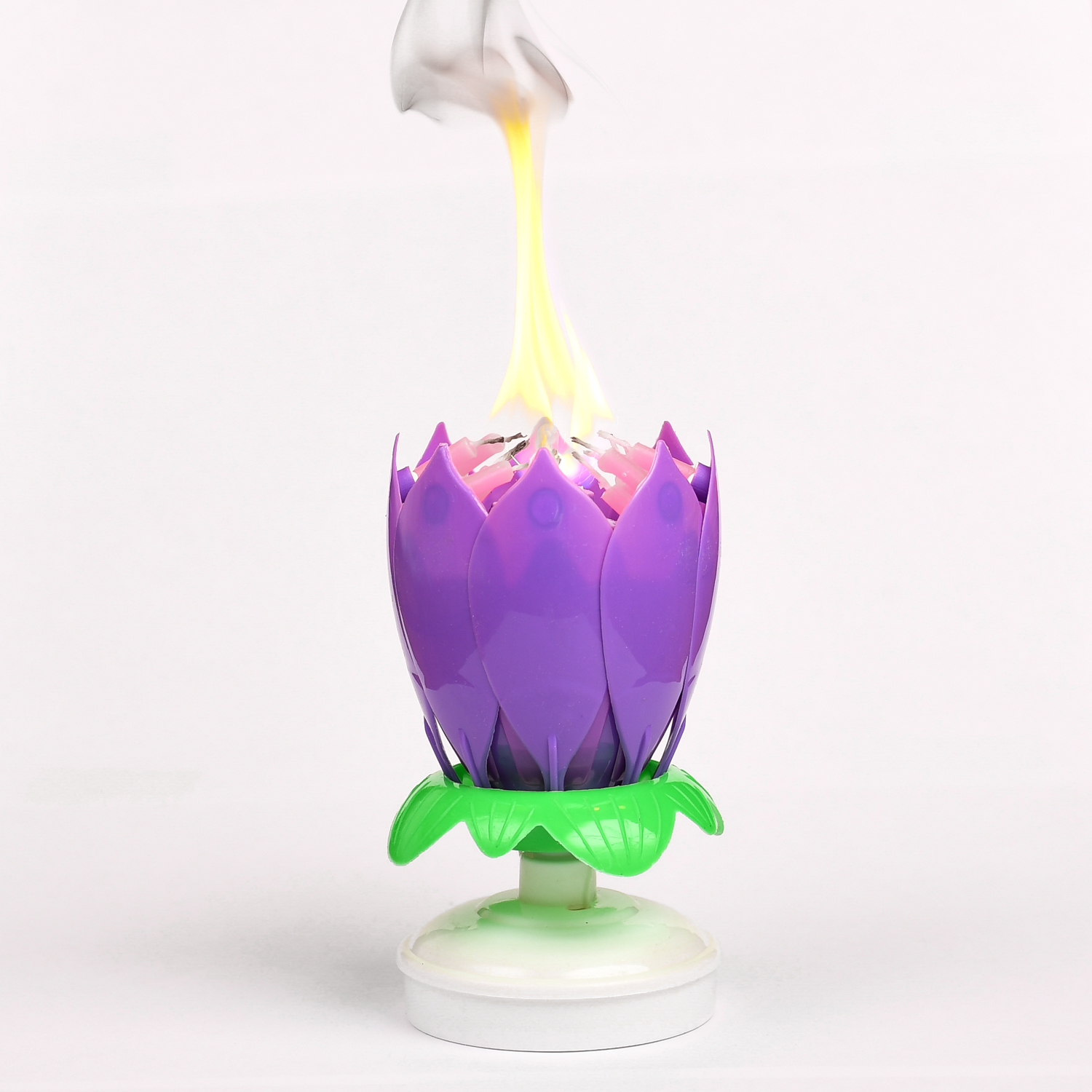 Purple Flower Musical Birthday Candles Lotus Flower Spinning Candles