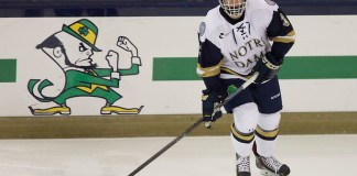 10 Oct 14: Jordan Gross (Notre Dame - 3) The University of Norte Dame Fighting Irish host the Rensslaer Polytechnic Institute in the second game of the 2014 Icebreaker at the Compton Family Ice Center in South Bend, IN. (Jim Rosvold)