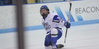 Nolan Redler of UMass-Boston had four goals and two assists in first-place clinching win over Babson (Macayla Chianco - Beacons Athletics)